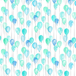 (small scale) blue and green watercolor balloons