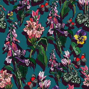 green and purple floral garden