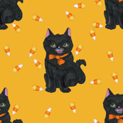 Black Cat Candy Corn Halloween