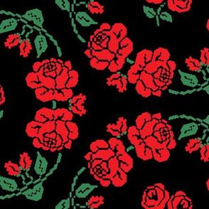 Folk Rose Kaleidoscope - Black