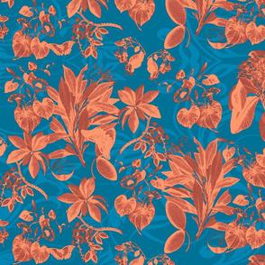 Captain Cooks Florilegium Pattern Unit with Merian Butterfly blue terracotta