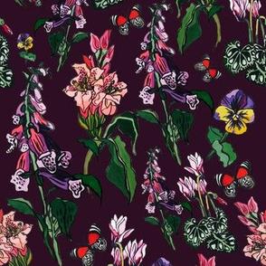 dark maroon floral print