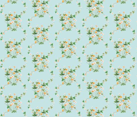 Meadow Diamond Golden Summer on Blue fabric by thistleandfox on Spoonflower - custom fabric