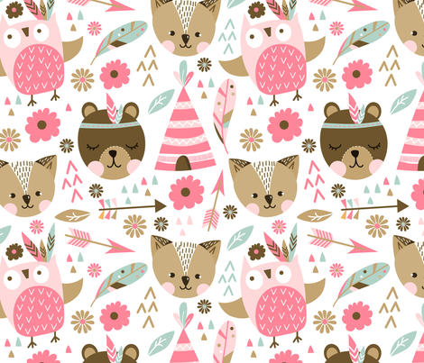 Pink Animal fabric by webvilla on Spoonflower - custom fabric