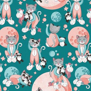 Cats, pandas and unicorns 1 // small scale // turquoise background