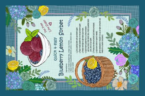 Blueberry Lemon Sorbet Recipe Tea Towel fabric by honoluludesign on Spoonflower - custom fabric