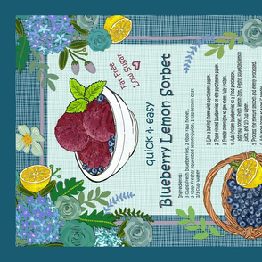 Blueberry Lemon Sorbet Recipe Tea Towel