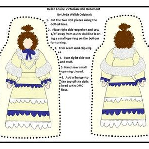 Victorian Ladies Helen Louise Cut and Sew Doll Ornament Fabric Collection