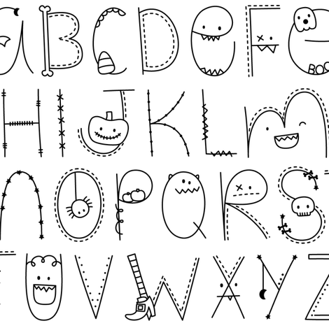 doodle alphabet black and white:: halloween fabric by misstiina on Spoonflower - custom fabric