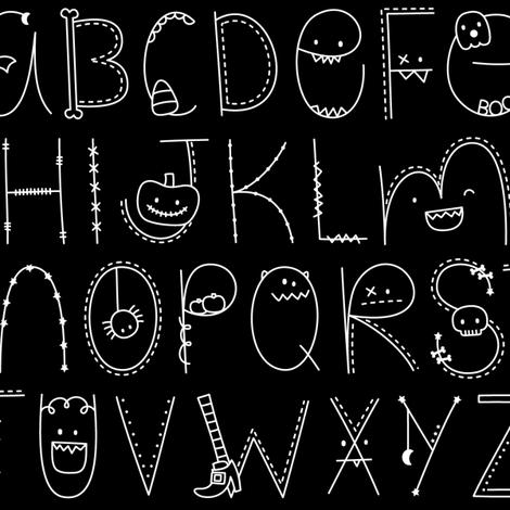 doodle alphabet white and black :: halloween fabric by misstiina on Spoonflower - custom fabric