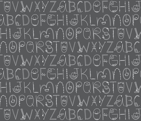 doodle alphabet white and dark grey :: halloween fabric by misstiina on Spoonflower - custom fabric