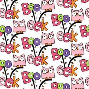 doodle owls pink :: halloween