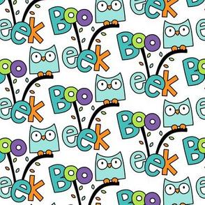 doodle owls teal :: halloween
