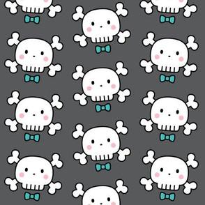 boy doodle skulls on dark grey