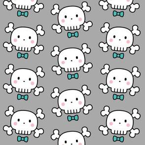 boy doodle skulls on light grey