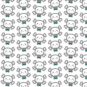 boy doodle skulls on white - small