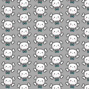 boy doodle skulls on light grey - small