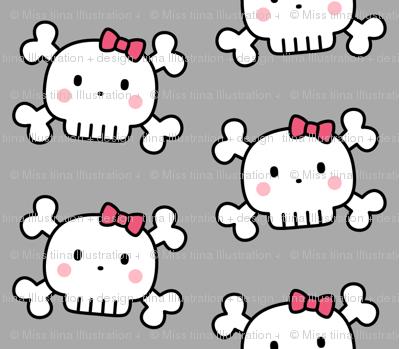 girl doodle skulls on light grey