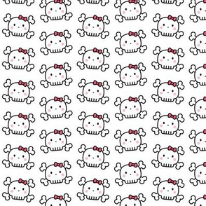 girl doodle skulls on white - small