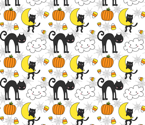 doodle cats on white :: halloween fabric by misstiina on Spoonflower - custom fabric