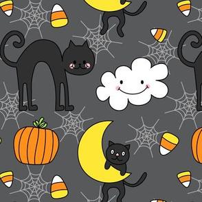 doodle cats on dark grey :: halloween