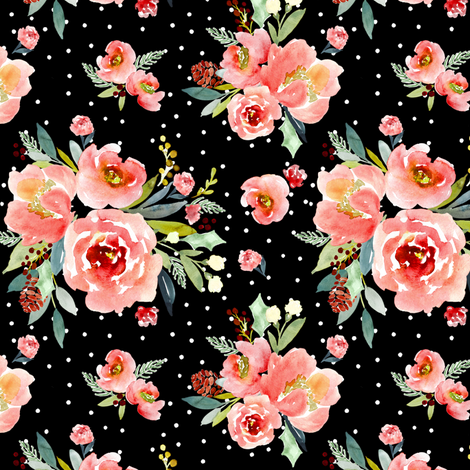 Indy bloom design Christmas Snowberry Rose fabric by indybloomdesign on Spoonflower - custom fabric