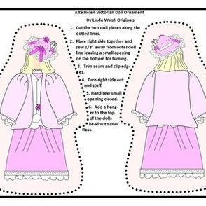 Victorian Ladies Alta Helen Cut and Sew Doll Ornament Fabric Collection