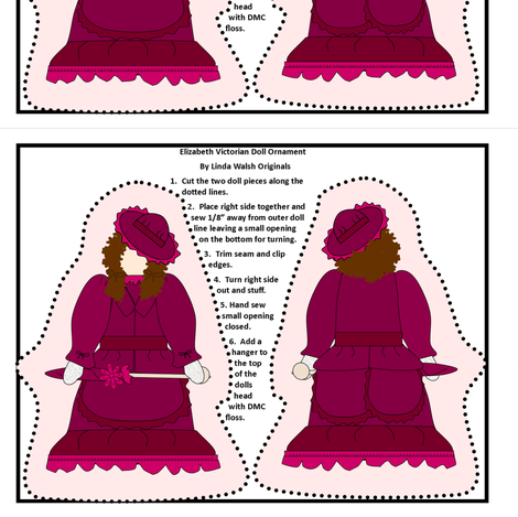 Victorian Ladies Elizabeth Cut and Sew Doll Ornament Fabric Collection  fabric by lworiginals on Spoonflower - custom fabric
