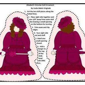 Victorian Ladies Elizabeth Cut and Sew Doll Ornament Fabric Collection