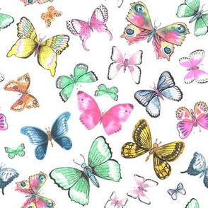 Inky Watercolor Butterflies