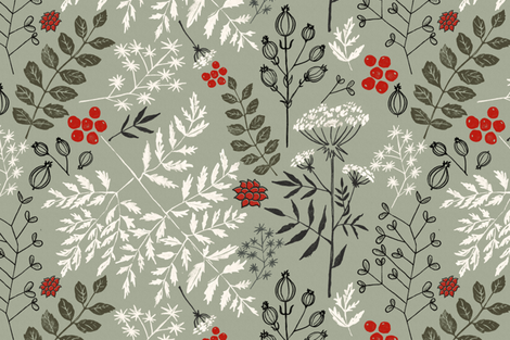 Floral_Block_Print__neutral_R_ fabric by chicca_besso on Spoonflower - custom fabric