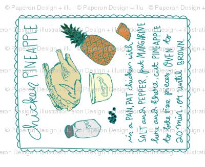 Chicken Pineapple Recipe Tea Towel