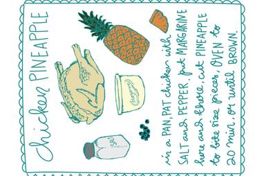Chicken Pineapple Recipe Tea Towel fabric by paperondesign on Spoonflower - custom fabric