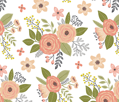 Vintage Antique Floral Flowers in peach on White Larger fabric by caja_design on Spoonflower - custom fabric