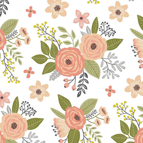Vintage Antique Floral Flowers in peach on White Larger