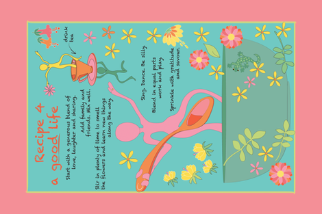 A Good Life recipe tea towel fabric by colour_angel_by_kv on Spoonflower - custom fabric