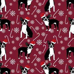 Boston Terrier peppermint stick candy canes winter snowflakes dog fabric ruby