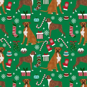 Boxer christmas holiday presents candy canes winter snowflakes dog fabric green