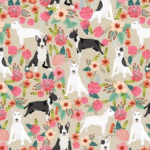 Bull Terrier black and white floral dog fabric florals cream