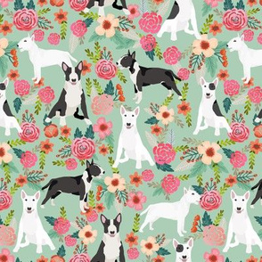 Bull Terrier black and white floral dog fabric florals mint
