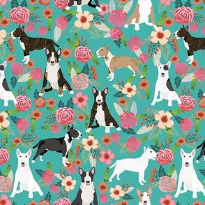 Bull Terrier black and white floral dog fabric florals turquoise