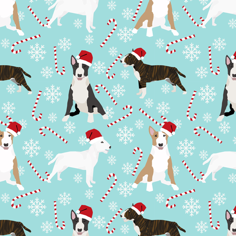 Bull Terrier peppermint stick candy canes winter snowflakes dog fabric light blue fabric by petfriendly on Spoonflower - custom fabric