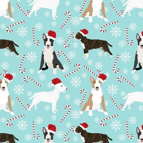 Bull Terrier peppermint stick candy canes winter snowflakes dog fabric light blue