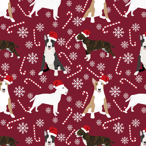 Bull Terrier peppermint stick candy canes winter snowflakes dog fabric ruby fabric by petfriendly on Spoonflower - custom fabric