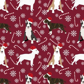 Bull Terrier peppermint stick candy canes winter snowflakes dog fabric ruby