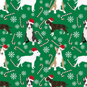 Bull Terrier peppermint stick candy canes winter snowflakes dog fabric green