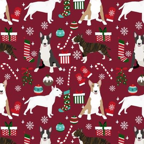 Bull Terrier christmas holiday presents candy canes winter snowflakes dog fabric ruby