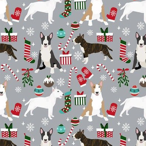 Bull Terrier christmas holiday presents candy canes winter snowflakes dog fabric grey