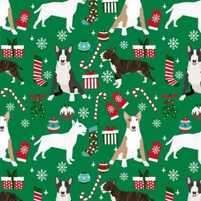 Bull Terrier christmas holiday presents candy canes winter snowflakes dog fabric green