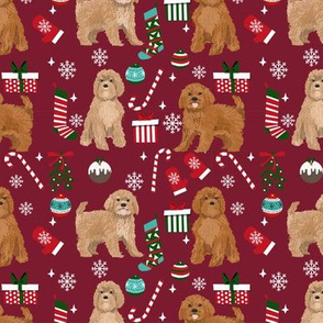 Cavoodle christmas holiday presents candy canes winter snowflakes dog fabric ruby